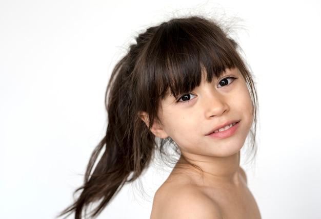 Kid shirtless topless natural race studio shoot Premium Photo