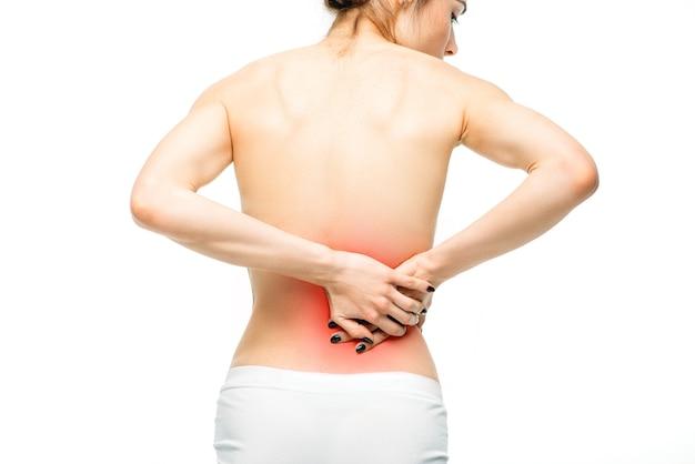 Боль в почках, женщина с болью в спине, изолированные на белом Premium Фотографии