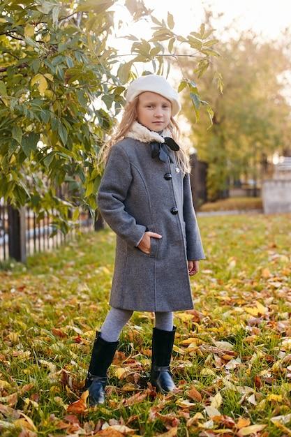 Kids baby in retro autumn spring clothes Premium Photo