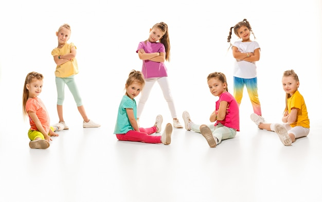Kids dance school, ballet, hiphop, street, funky and modern dancers Free Photo