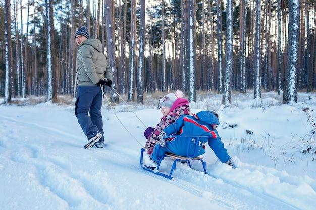 冬の雪の森でスレッジに乗って楽しんでいる子供たちは、季節のアウトドアアクティビティを楽しんでいます Premium写真