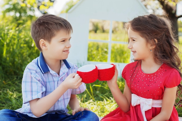 Kids at the picnic fun. the concept of childhood and lifestyle. Premium Photo
