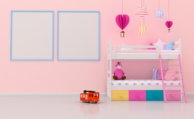 Kids room interior with cute decoration and blank photo frames on the wall. 3d rendering Premium Photo