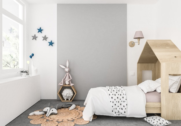 Kids room with blank wall, artwork background, interior Premium Photo