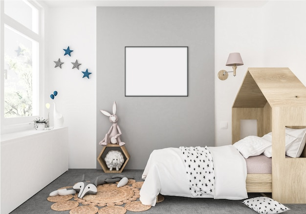 Kids room with empty horizontal frame, artwork background, interior Premium Photo