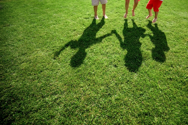 Kids with their shadows on grass. silhouettes of three persons standing with their hands stretched up Premium Photo