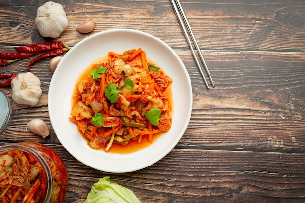 Kimchi ready to eat in white plate Free Photo