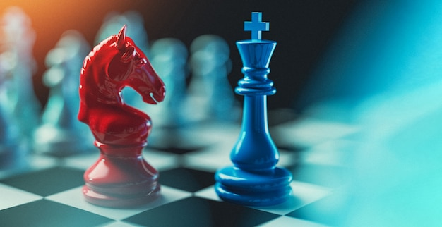 King chess and red horse. Premium Photo