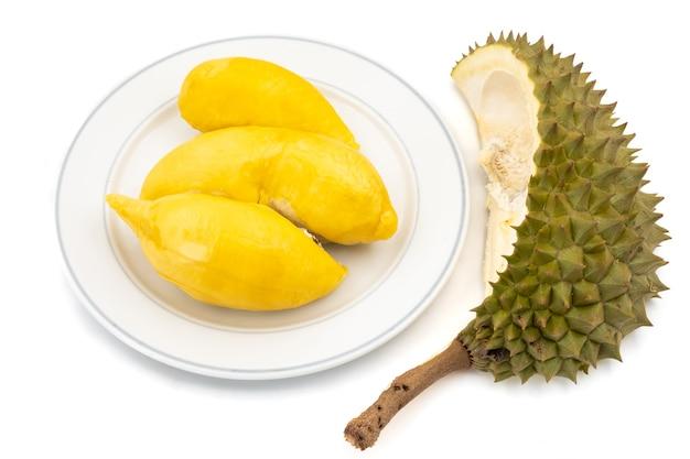 King of fruits, durian on white background Premium Photo