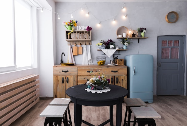 Kitchen and dining room with vintage style Free Photo