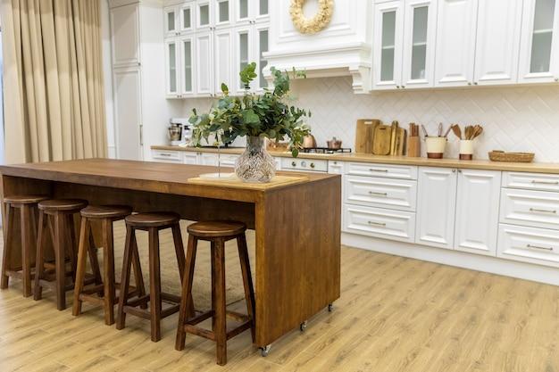 Kitchen interior design with wooden furniture Free Photo