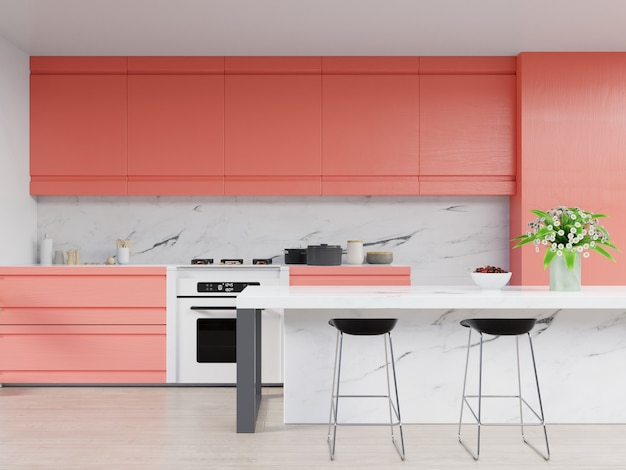 Kitchen interior with living coral color wall on living coral of the year 2019. Premium Photo