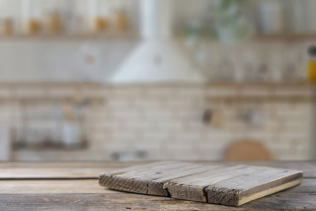 Kitchen table with kitchen board. mock up Premium Photo