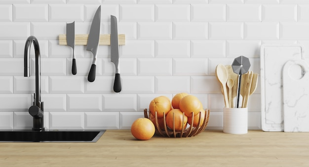 Kitchen utensils gadgets near sink on wooden surface and white tiled wall, kitchenware in kitchen concept, spoons, knives, cutting board, modern home kitchen concept, 3d render Premium Photo