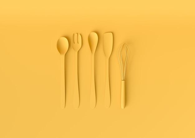Kitchen utensils set with pastel yellow color. minimal concept 3d render. Premium Photo