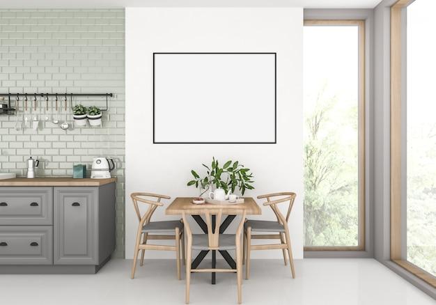 Kitchen with empty horizontal frame Premium Photo