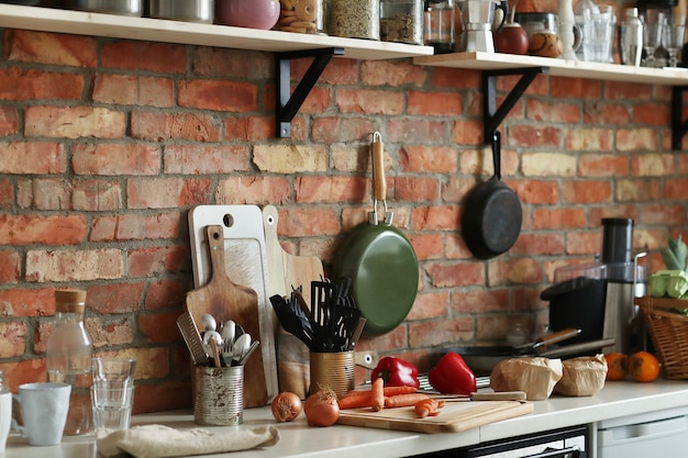 Kitchen with ingredients and tools Free Photo