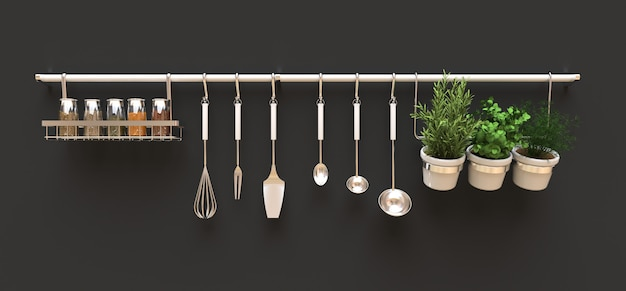 Kitchenware, dry bulk and live seasonings in pots hang on the wall. 3d rendering Premium Photo