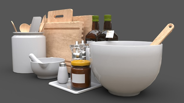 Kitchenware, oil and canned vegetables in a jar on a grey background Premium Photo