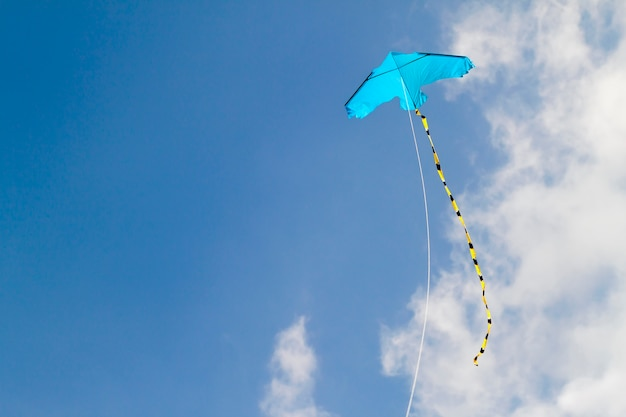 Kite flying against the blue sky on a sunny day Premium Photo