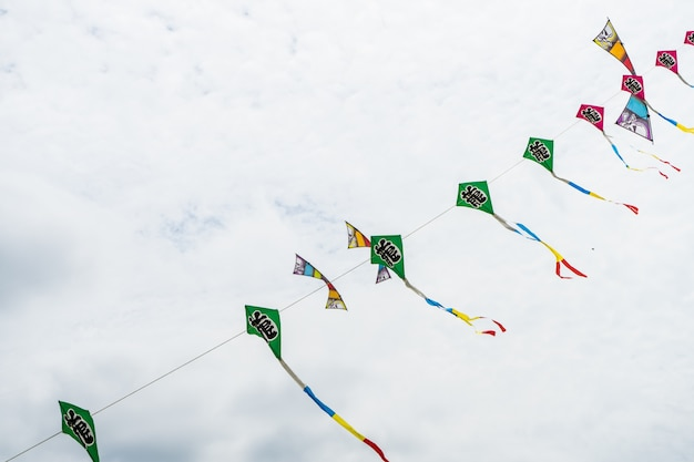 Kite flying in the sky among the clouds Premium Photo