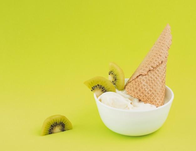 Kiwi ice cream bowl Free Photo