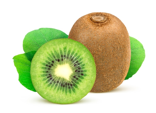 Kiwi. whole and sliced kiwi fruit isolated Premium Photo