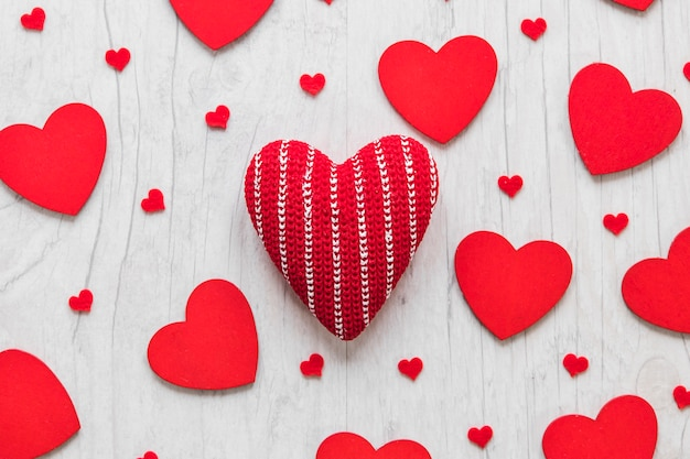 Knitted Hearts Amidst Heart Composition Photo Free Download