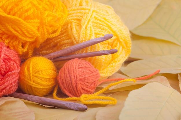 Knitting image for autumn or winter Premium Photo
