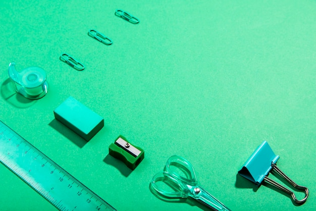 ハイビューknolling文房具オフィスアイテムとコピースペース 無料写真