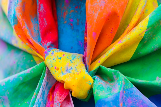 Knotted unclean rainbow flag Free Photo