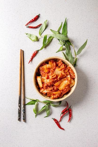 Korean Appetizer Kimchi Premium Photo