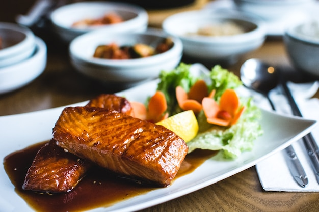Korean fried salmon with sweet soy sauce Free Photo