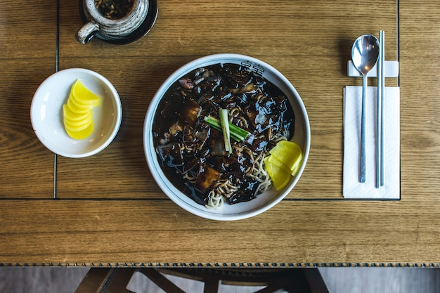 Korean noodles with thick sweet soy sauce Free Photo