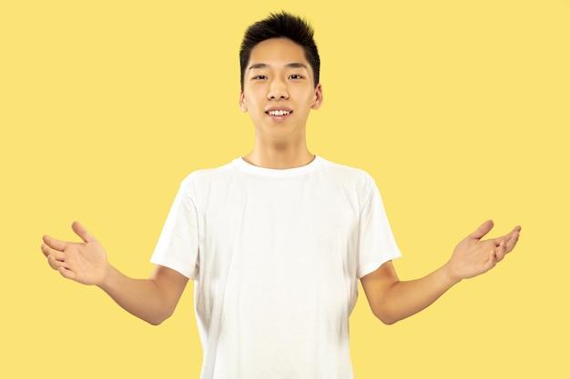 Korean young man's half-length portrait on yellow Free Photo