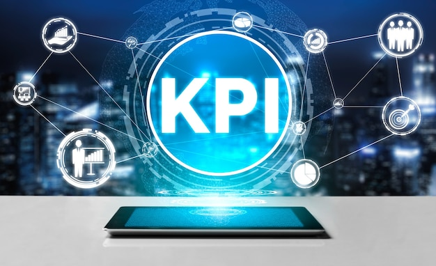 Kpi key performance indicator for business concept - modern graphic interface showing symbols of job target evaluation and analytical numbers for marketing kpi management Premium Photo