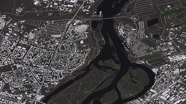 Krasnoyarsk map in 3d isometric landscape roads and buildings Photo