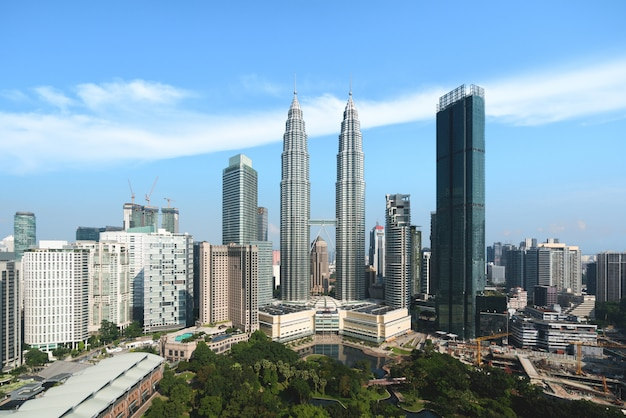 Kuala lumpur city skyline and skyscrapers building at business district downtown in kuala lumpur, malaysia. asia. Premium Photo