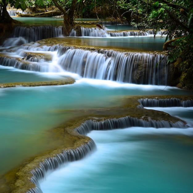 Kuang si waterfall, luang prabang, laos Premium Photo