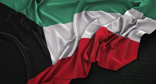 Kuwait flag wrinkled on dark background 3d render Free Photo