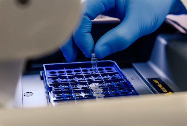 A laboratory worker arranging pipette tips in a blue container for a coronavirus testing Free Photo