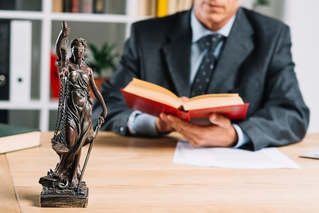 Lady of justice in front of male justice reading law book Free Photo