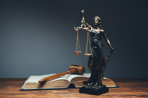 Lady justice, law library concept Premium Photo