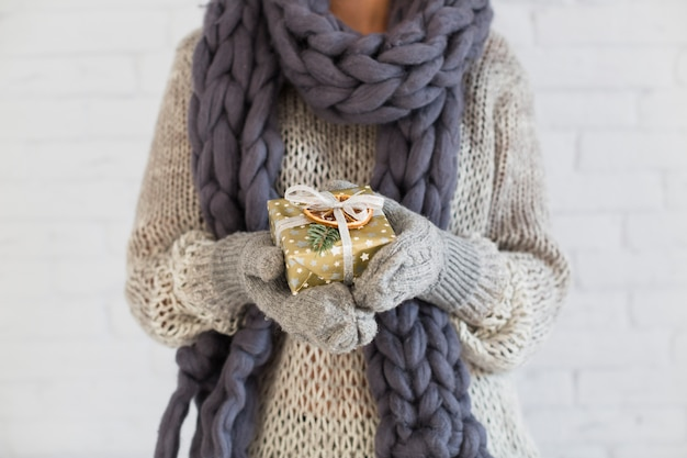 Lady in mitts and scarf with present box in hands Free Photo