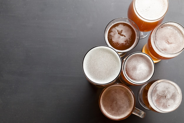 Lager beer on table Premium Photo