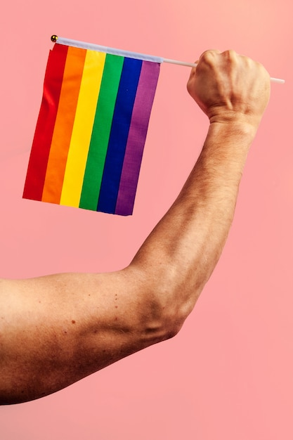 Lags of the lgbt community in a hand Premium Photo