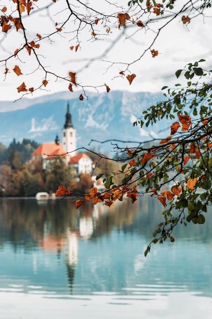 Озеро блед с красивыми отражениями в осенний сезон с красочными ветвями деревьев Premium Фотографии