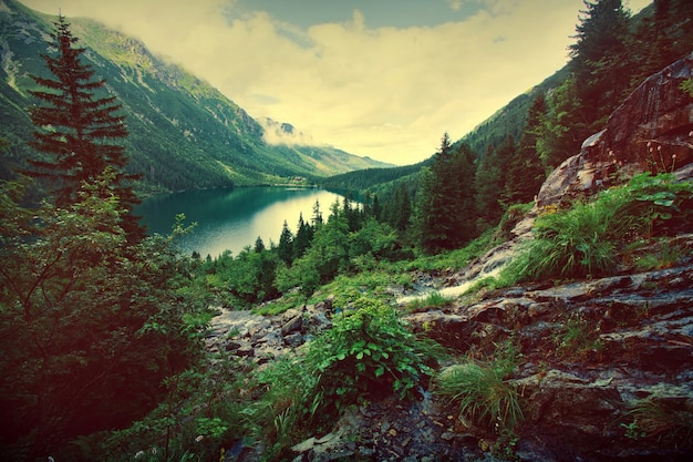Lake in mountains. Free Photo