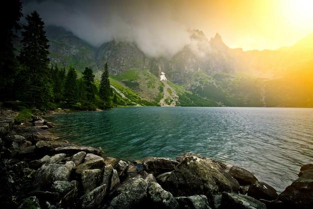 Lake in mountains. Free Photo