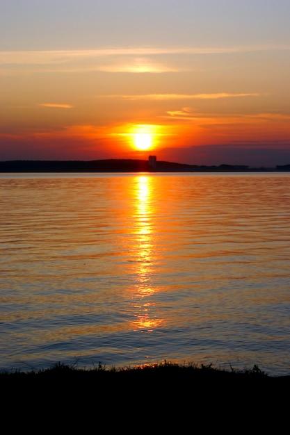 Premium Photo Lake At Sunset Background